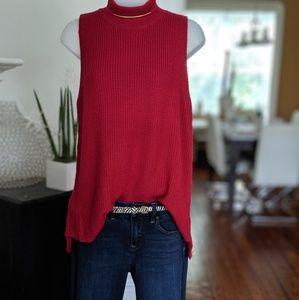 Sleeveless Mock Neck Sweater